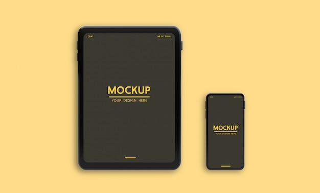 テンプレートのpsdファイルを表示するためのカスタマイズ可能なスマートフォンとタブレットのモックアップ