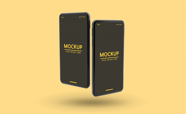 Customizable two smartphone mockup to display template psd file