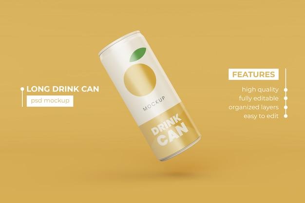 Customize realistic long metal drink can mockup design template premium psd