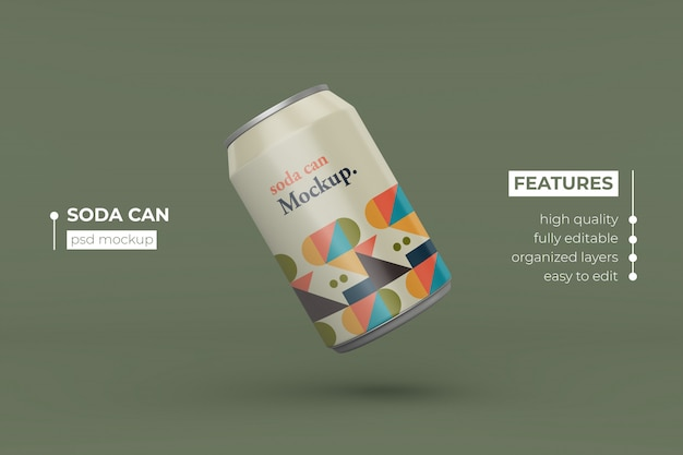 Customize realistic long metal drink can mockup design