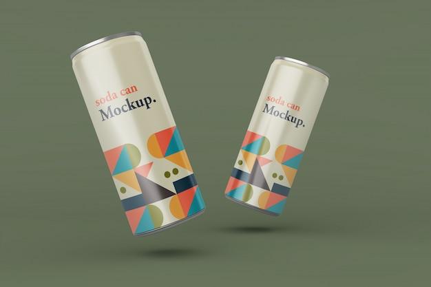Customize realistic thin metal soda can mockup design