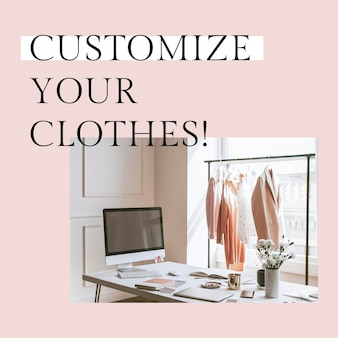 Customize your clothes template psd for social media post