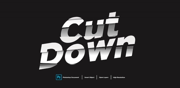 Cut down text effect design
