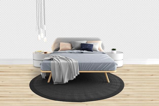 고립 된 3d 렌더링에서 침대 방을 잘라