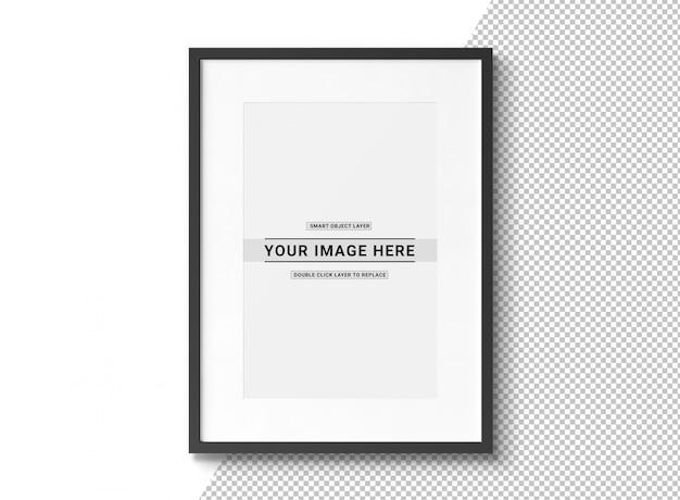 Cut out black rectangular photo frame mockup