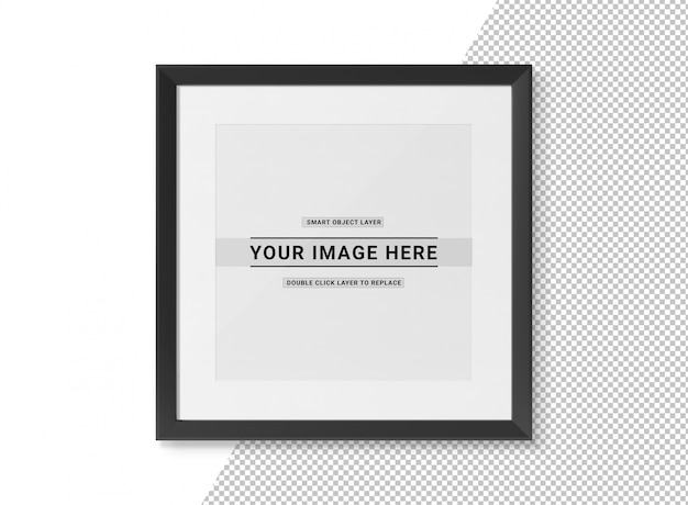 Cut out black squared frame on white  mockup