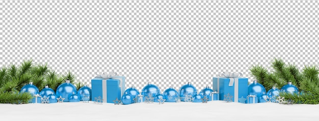 Cut out blue christmas baubles and gifts lined up