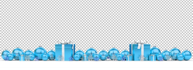 Cut out blue christmas baubles and gifts on snow