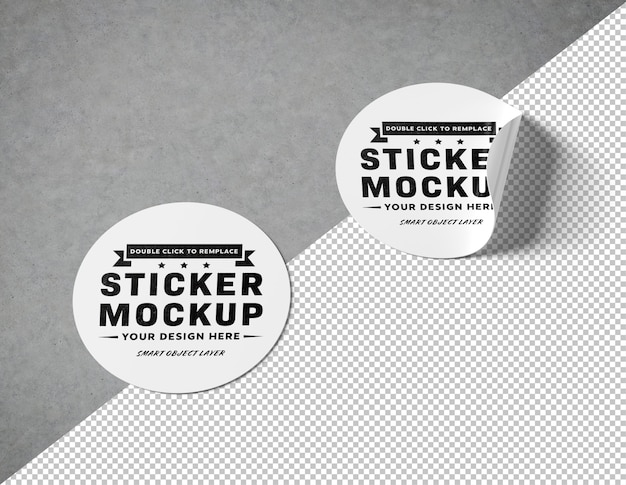 Cut out circular sticker on concrete surface mockup