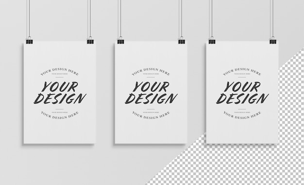 Cut out hanging poster with clips mockup