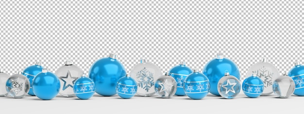 Cut out isolated blue and glass christmas baubles lined up