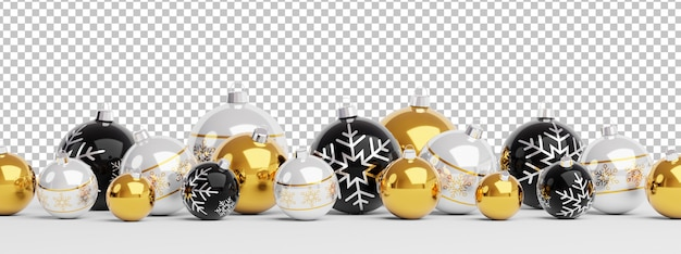 Cut out isolated golden and black christmas baubles lined up