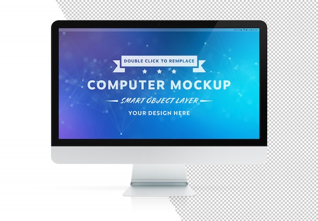 Cut out isolated modern computer screen with shadow mockup