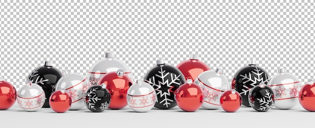 Cut out isolated red and black christmas baubles lined up