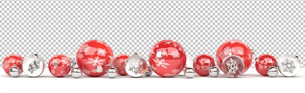 Cut out isolated red and glass christmas baubles lined up