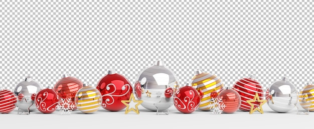 Cut out isolated red and golden christmas baubles lined up