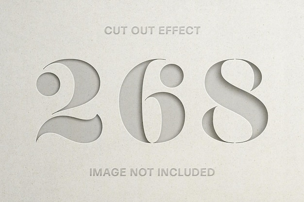 Cut out paper effect logo mockup