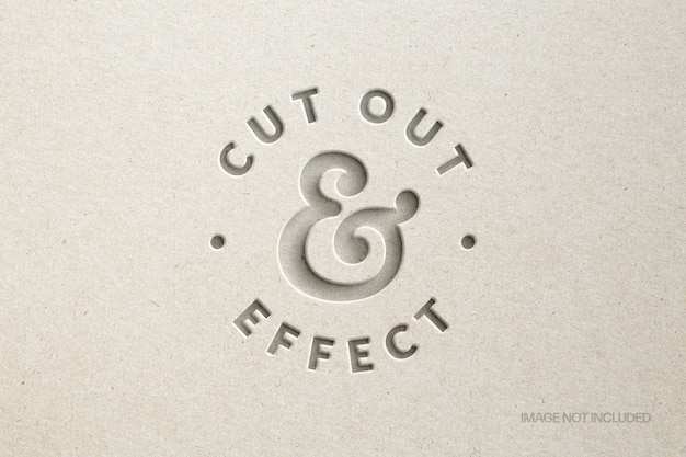 Cut out paper text effect mockup