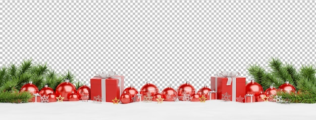 Cut out red christmas baubles and gifts lined up