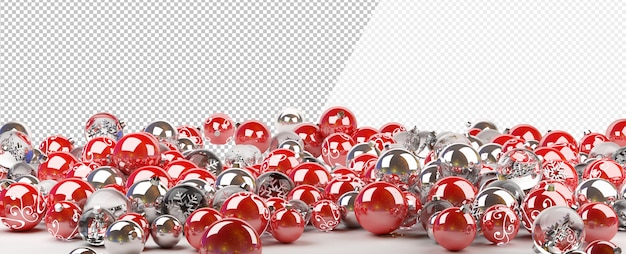 Cut out red and silver christmas baubles