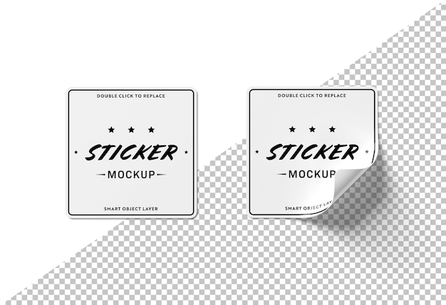 Cut out squared sticker mockup