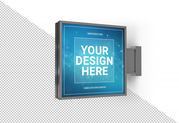 Cut out squared store sign mockup