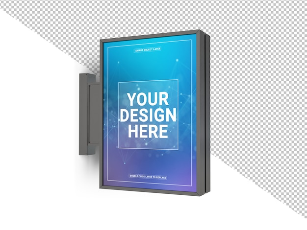 Cut out vertical store sign mockup