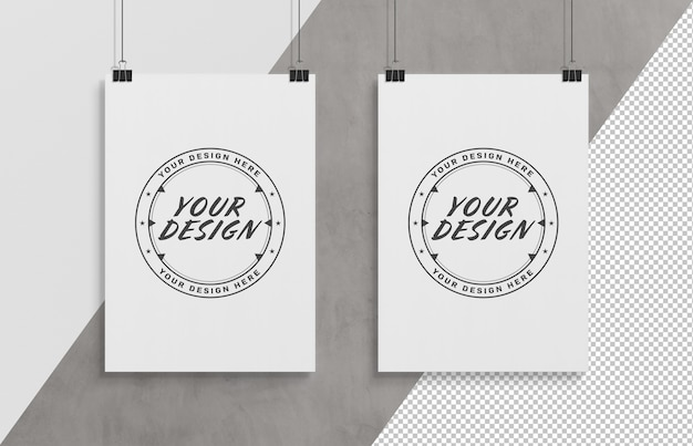 Cut out white poster hanging with clips mockup