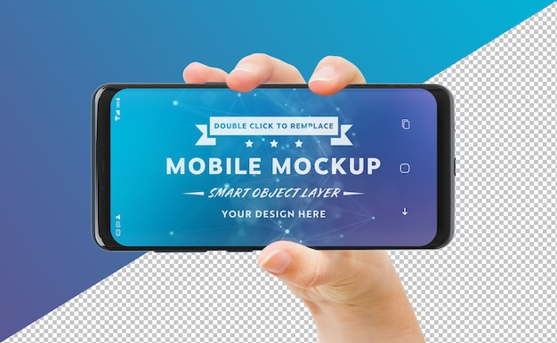 Cut out woman hand holding modern smartphone mockup