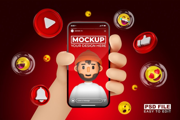 Cute 3d cartoon hand with smartphone 3d rendering mockup