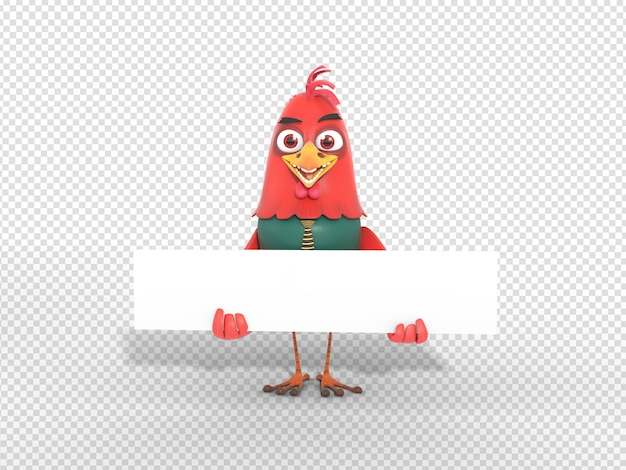 Cute 3d character illustration holding blank header banner for advertisement