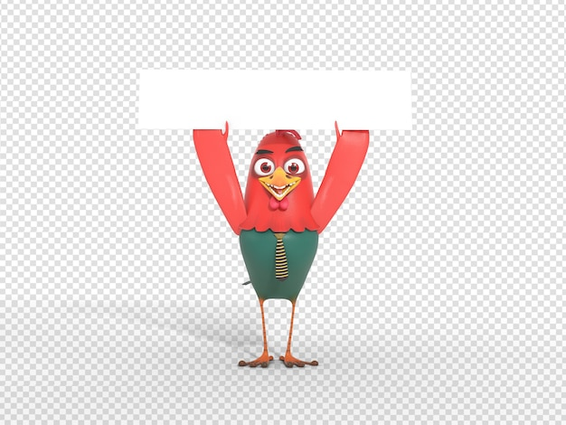 Cute 3d character render holding blank header banner for advertisement