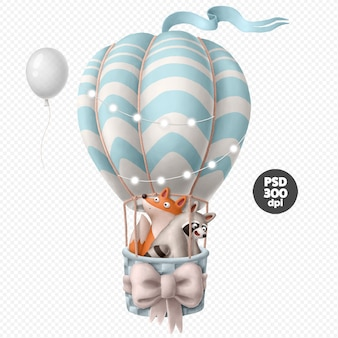 Cute animals on the air balloon illustration isolated