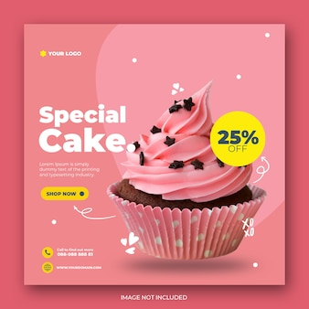 Cute cake instagram post template