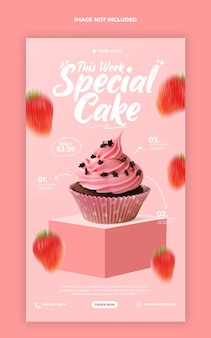 Cute cake menu promotion instagram stories banner template