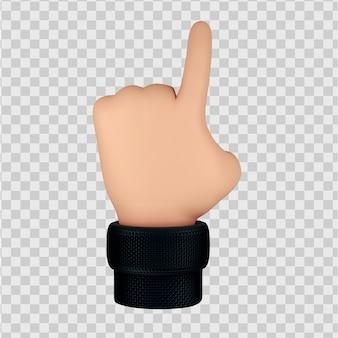 Милый мультипликационный персонаж руки жест 3d визуализация изолированные