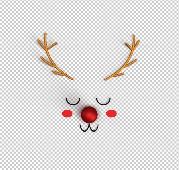 Милый мультяшный олень рудольф с красным носом