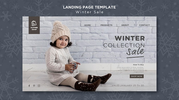 Cute child winter collection sale landing page template