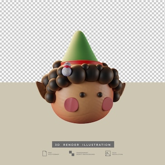 Милый рождественский эльф со снеговиком кукла глиняный стиль вид сбоку 3d иллюстрация