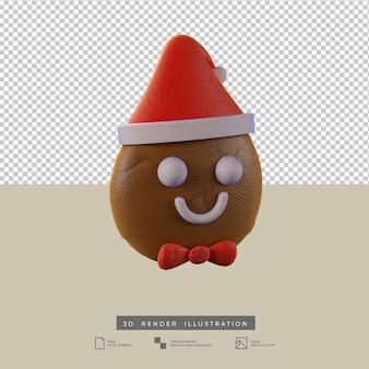 Милые рождественские пряники с новогодней шапкой 3d иллюстрация