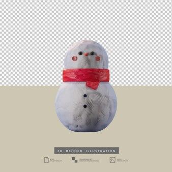 귀여운 크리스마스 눈사람 클레이 스타일 전면보기 3d 그림