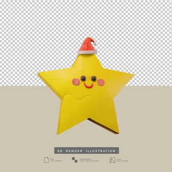 Cute christmas star with santa hat clay style 3d illustration