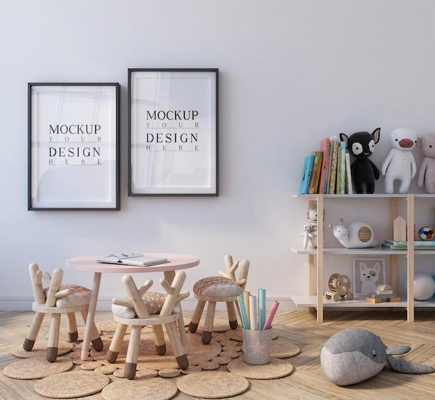 Cute classroom of kindergarten with mockup poster