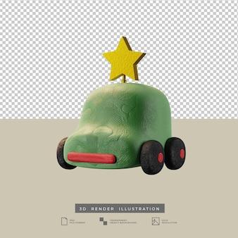 크리스마스 골든 스타 3d 일러스트와 함께 귀여운 점토 녹색 자동차