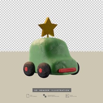 크리스마스 골든 스타 측면보기 3d 일러스트와 함께 귀여운 점토 녹색 자동차