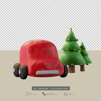 クリスマスツリー3dイラストとかわいい粘土の赤い車