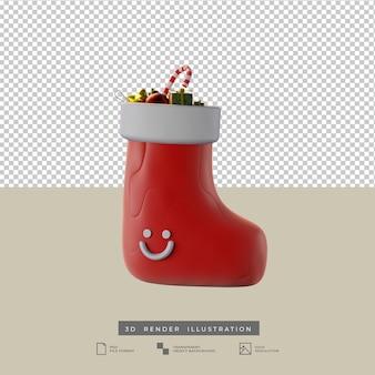 사탕 막대기와 눈사람 3d 일러스트와 함께 귀여운 점토 스타일의 빨간 충격 크리스마스