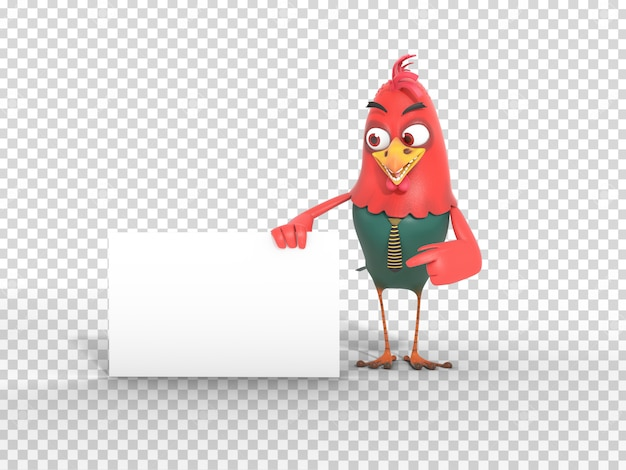 Cute colorful 3d character mascot illustration holding and pointing at banner with transparent background