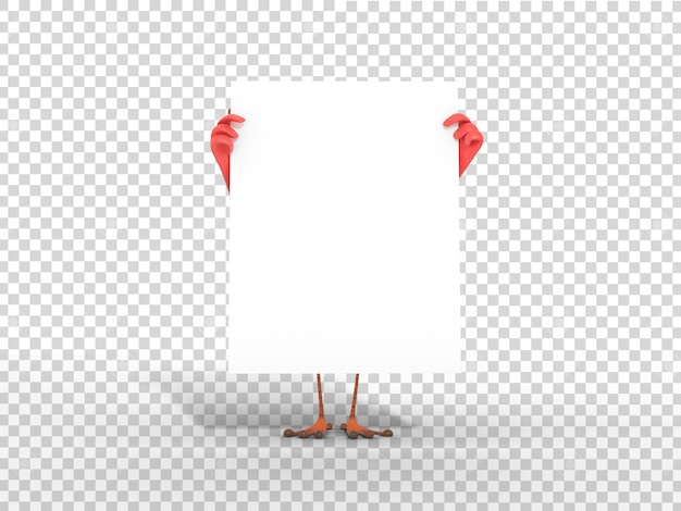 Cute colorful 3d character mascot illustration holding white blank poster with transparent background
