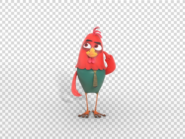 Cute colorful 3d character mascot illustration thinking with transparent background